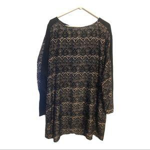Women Mossimo Black And White Print Dress Size 2XL